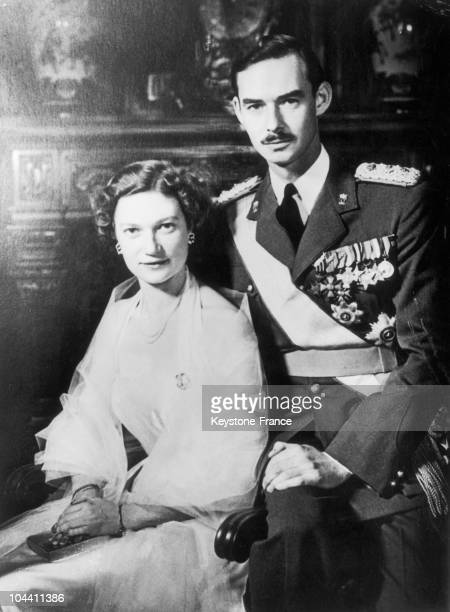 Two weeks before their wedding Belgian Princess JOSEPHINECHARLOTTE poses with her fiance crown Prince JEAN of LUXEMBOURG on March 25 1953