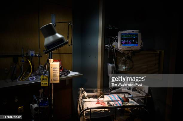 A two weeks old boy is being mentored inside a Neonatal Intensive Care Unit's isolation room from a opioid withdrawal at the CAMC Women and...