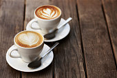 Two white cups of cappuccino