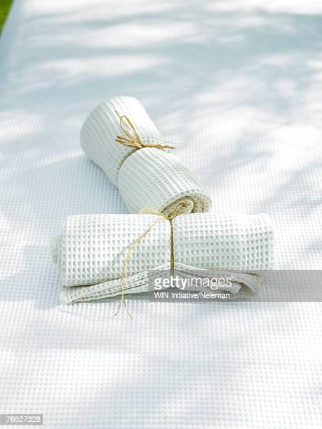 Two white napkins on cloth