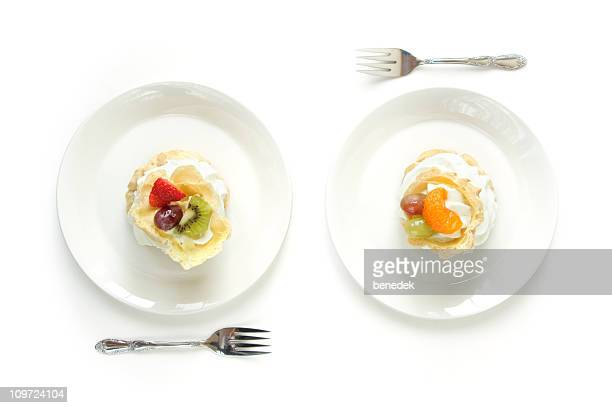 Two White Plates with Cream Puffs Eclairs
