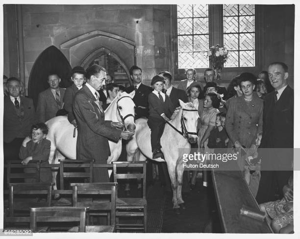 Two white ponies are ridden into Holy Trinity Church for an annual pets' service organised by Reverend LJB Snell who is secretary of the Hereford...