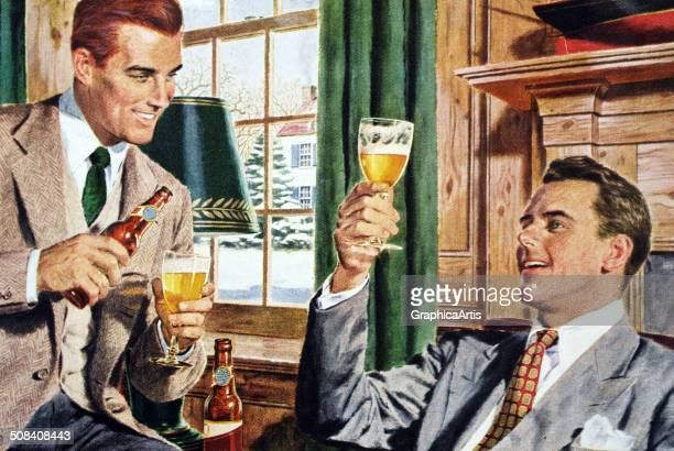 Two white professional American men drinking beer after work in the den of a suburban home c 1945 Screen print