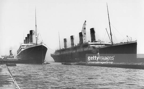 Two White Star Liners RMS Titanic and RMS Olympic both built by Harland Wolff in Belfast seen together for the last time 3rd February 1912 RMS...