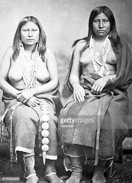 Two Wichita girls in summer dress 1870 | Location in a studio