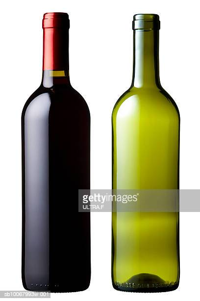 Two wine bottles on white background