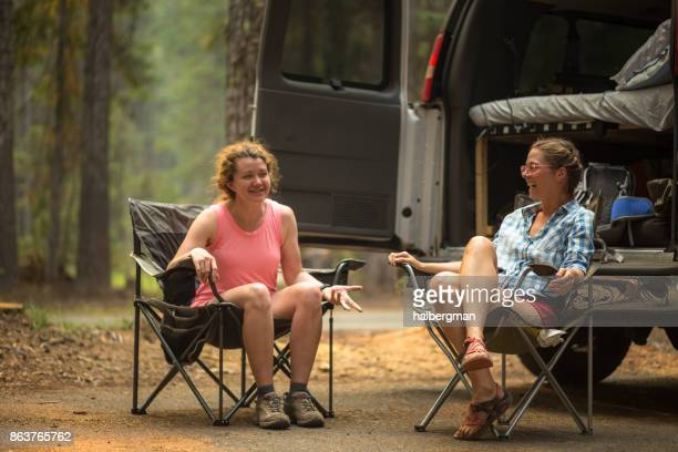Two Woman Camping in Oregon Woods