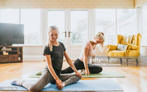 two woman perform yoga in a home environment - human back stock pictures, royalty-free photos & images