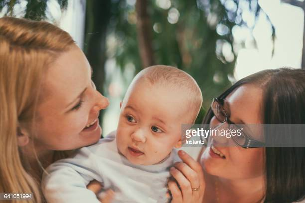 Two women and a baby