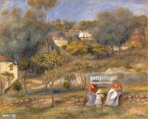 Two Women and a Child by PierreAuguste Renoir 20th Century Private Collection Whole artwork view Two women sitting on a low wall with a child in the...