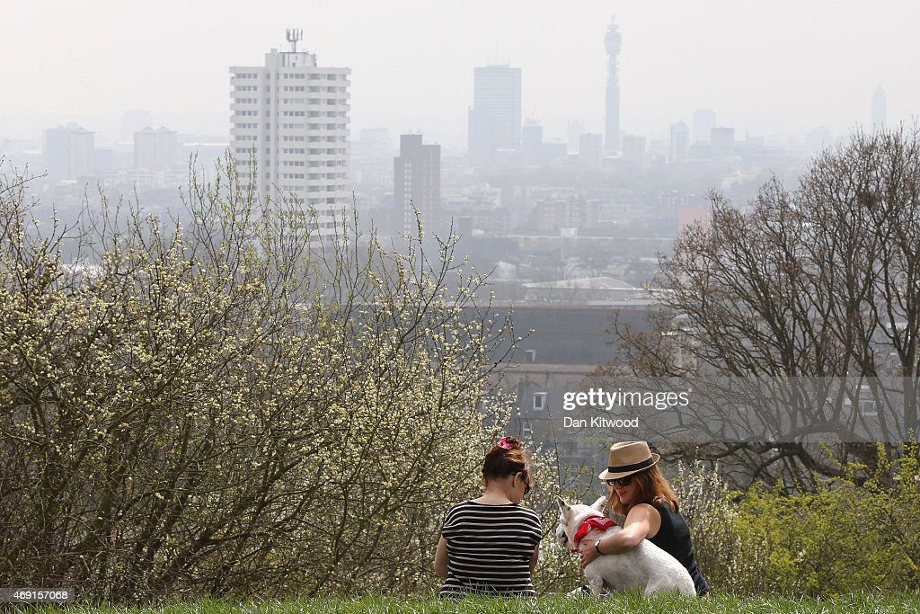 Two women and a dog sit on Parliament Hill in Hampstead Heath overlooking an overcast Central London on April 10, 2015 in London, England. Air pollution and smog has blanketed much of central and Southern England today, posing a possible health risk to those suffering from respiratory diseases, older people and children, according to health charities.