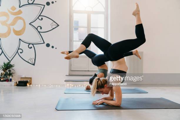 zwei frauen üben gemeinsam yoga - yogastudio stock-fotos und bilder