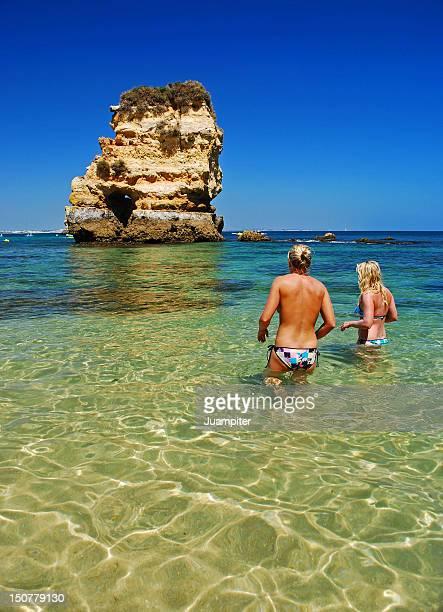 Two women bathing in Portuguese Algarve
