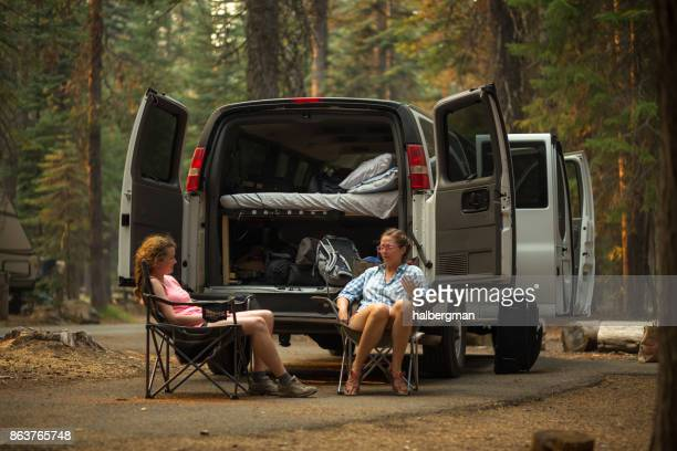 Two Women Camping in Oregon Woods