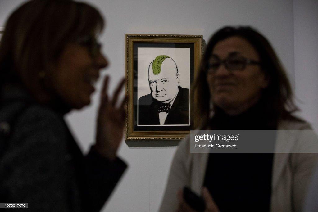 """""""The Art of BANKSY. A Visual Protest"""" Exhibition Preview In Milan : News Photo"""
