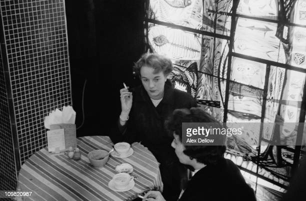 Two women chatting at a coffee bar in London 4th November 1955 Original publlication Picture Post 8628 Coffee Bars unpub