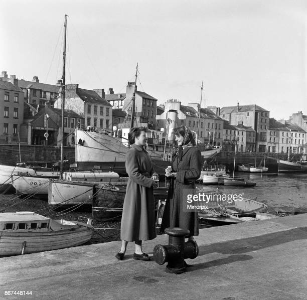 Two women chatting by the Quayside in Douglas Isle of Man 13th May 1954