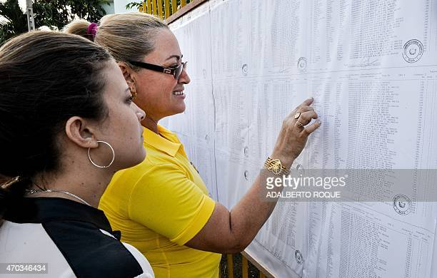 Two women check their names in an electoral register at a polling station in Nautico neighbourhood in Havana on April 19 during municipal elections...