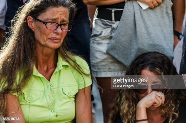 Two women cry for the victims of the attack during the vigil Hundreds of people attend the vigil and a minute of silence for the victims of the...