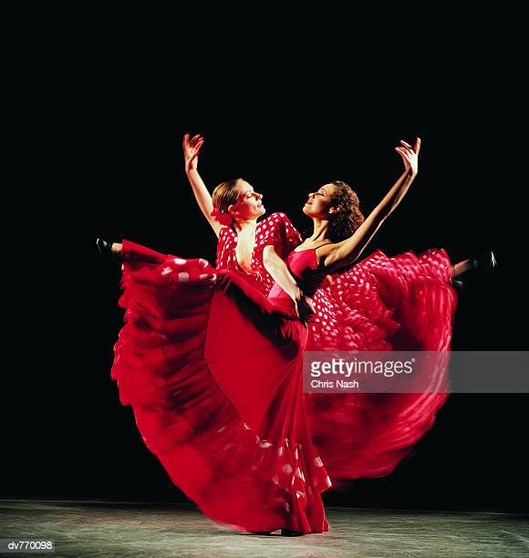 two women dancing the flamenco - flamenco dancing stock photos and pictures