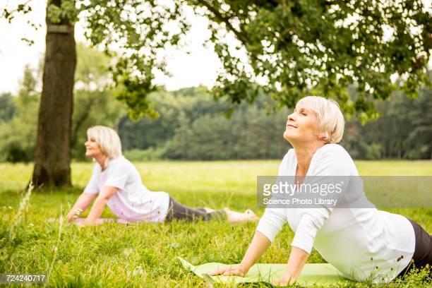 Two women doing yoga in field
