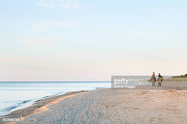 two women horseback riding on beach - faro sweden stock pictures, royalty-free photos & images