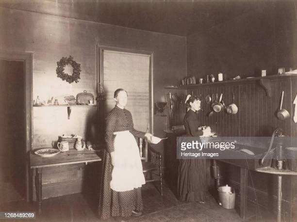 Two Women in a Kitchen, 1880s-90s. Artist Unknown.
