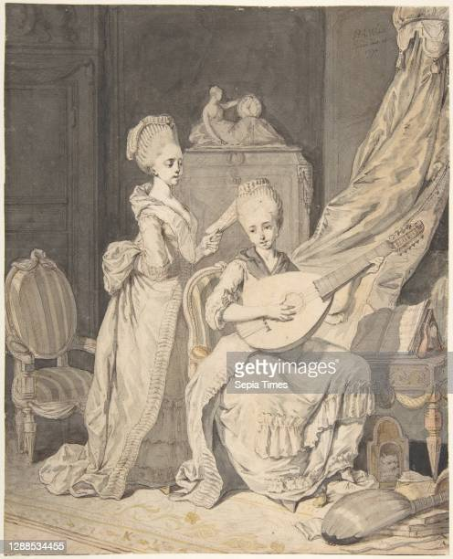 Two Women in an Elegant Interior: a Singer Accompanied by a Lutenist Pen and brown ink, brush and brown and gray wash, yellow and pink watercolor,...