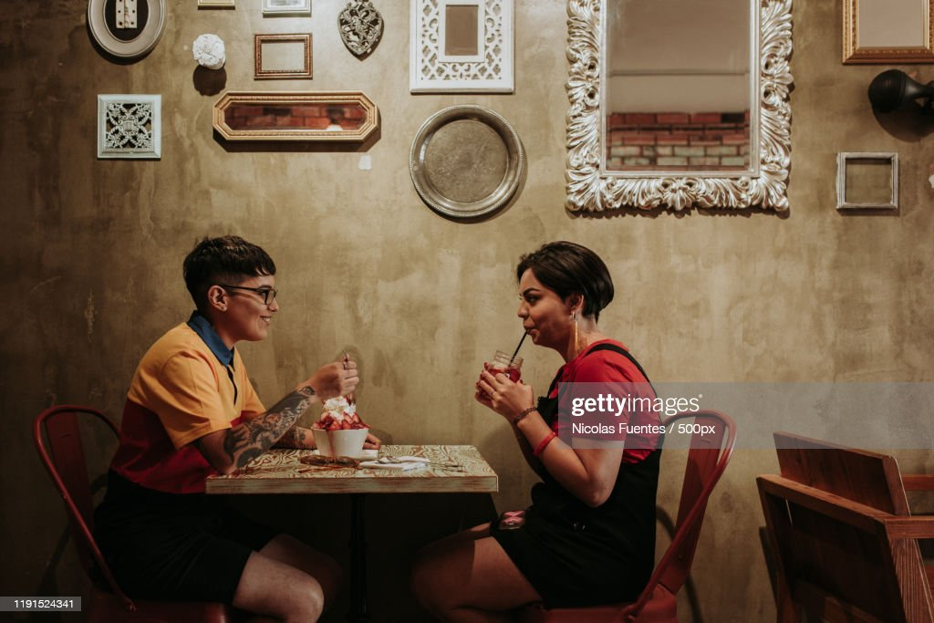 Two women in cafe : Stock Photo