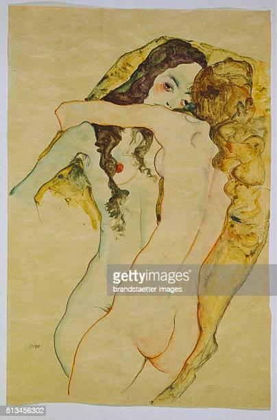 Two women in embrace 1911 Watercolor/pencil 56 x 37 cm Watercolor by Egon Schiele By Egon Schiele