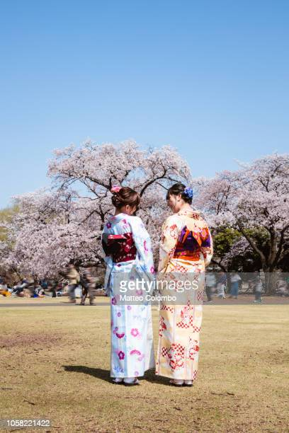 Two women in kimono at the park in spring, Tokyo