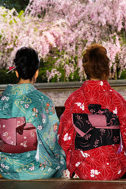 two women in kimono's rear view