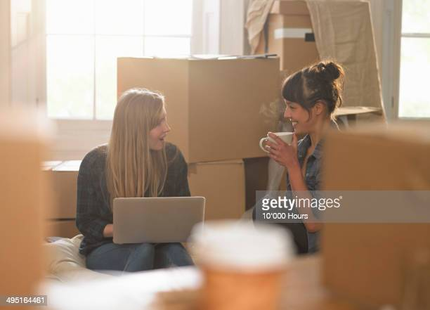 two women in new apartment looking at a laptop - roommate stock pictures, royalty-free photos & images