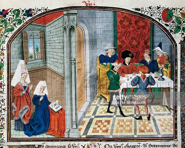 Two women in prayer and men playing dice miniature from Ethics Politics the Economy by Aristotle folio 107 recto manuscript France 14521457