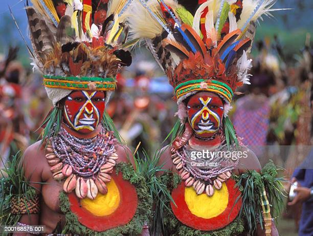 two women in tribal costume, portrait - papua new guinea stock pictures, royalty-free photos & images