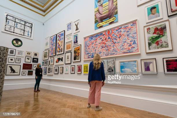Two women look at a selection of the artworks on display, including 'The American Dream' by Grayson Perry RA , during a press preview of the 252nd...