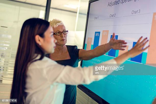 Two women looking at financial graphs
