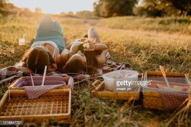 自然の中で晴れた日にピクニック毛布の上に横たわっている2人の女性 - ピクニック ストックフォトと画像