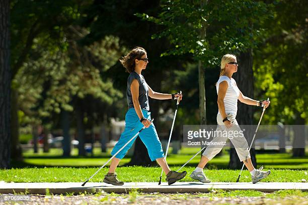 Two women nordic walking in Salt Lake City, Utah.