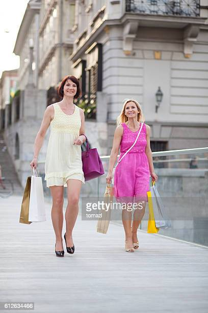 Two women on a shopping spree