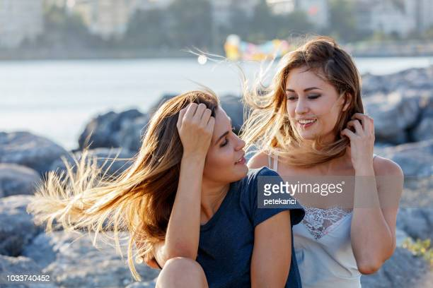 Two Women On Windy Day