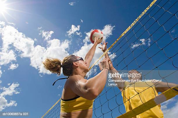 two women playing volleyball, low angle view - damen volleyball stock-fotos und bilder