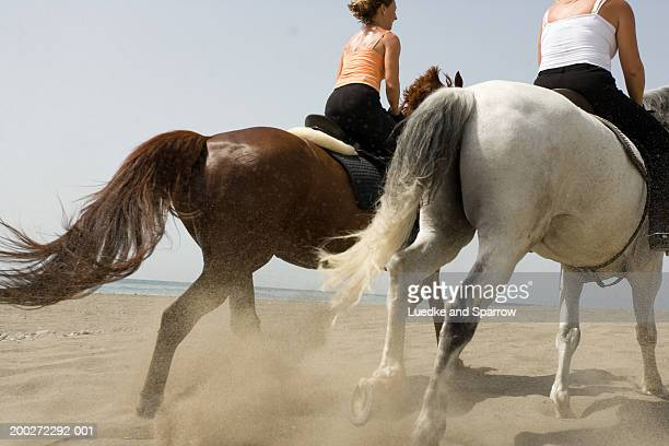 Two women riding horses on beach, rear view