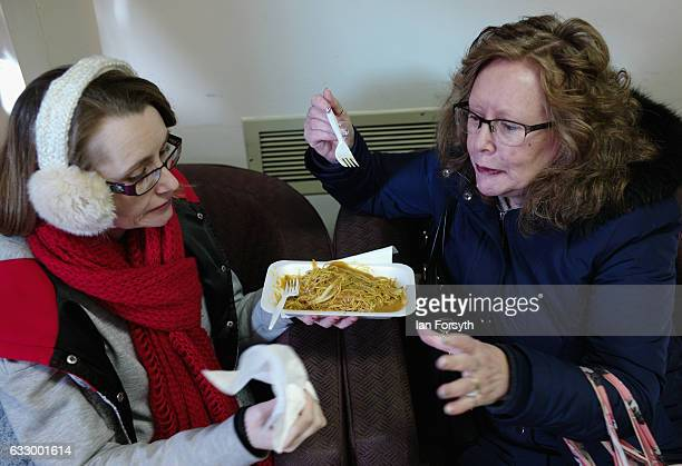 Two women share a Chinese meal during the Chinese New Year celebrations to mark The Year of the Rooster on January 29 2017 in Newcastle Upon Tyne...