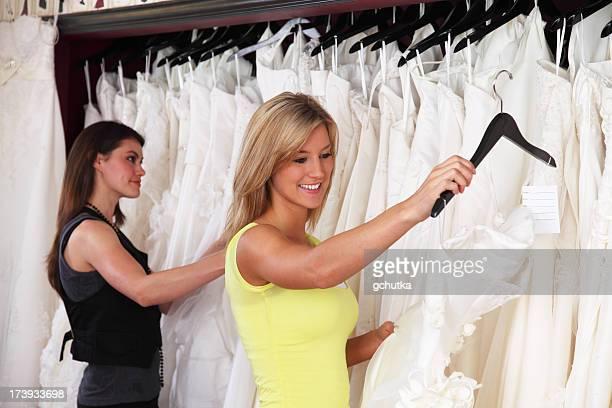 Two Women Shopping For Wedding Dress