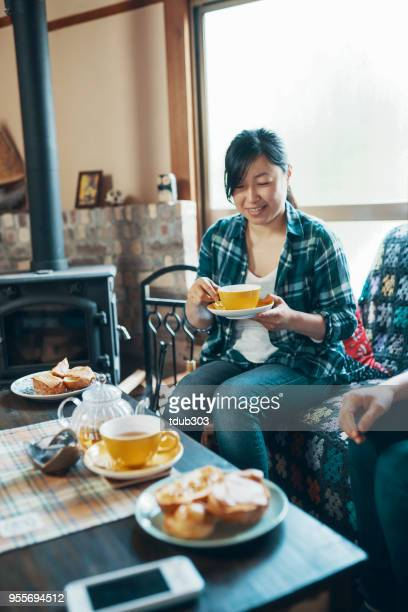 two women sitting in a cozy room drinking tea - wood burning stove stock photos and pictures
