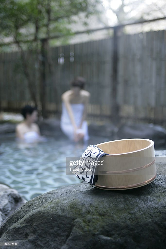 Two Women Soaking In Hot Spring High-Res Stock Photo