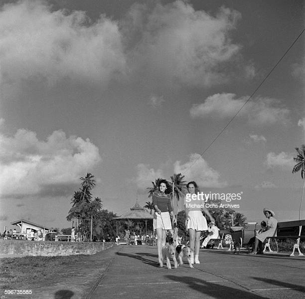 Two women take their dogs for a walk in Georgetown British Guyana