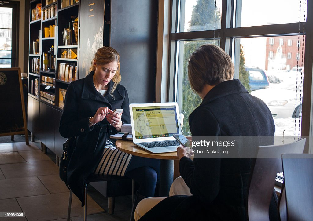 Working At A Starbucks Coffee Shop in Connecticut : News Photo
