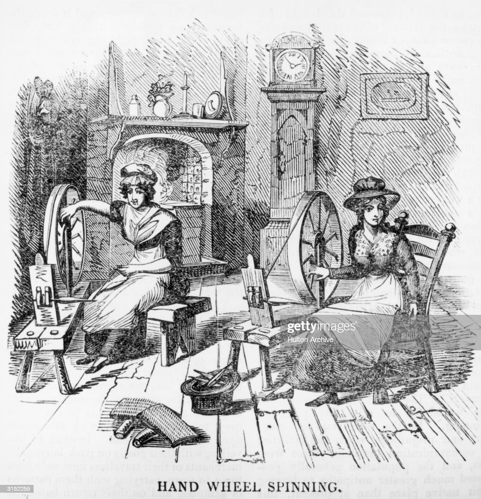 Two Women Using Old Fashioned Spinning Wheels Circa 1800 News Photo Getty Images
